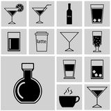 Drinks icons, beverages web icons, drinks icon set Stock Images