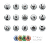 Drinks Icons // Metal Round Series Royalty Free Stock Photos
