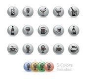 Drinks Icons // Metal Round Series Royalty Free Stock Photos