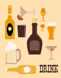 Drinks icons. Over  pink background vector illustration Royalty Free Stock Image