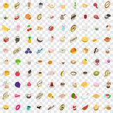 100 drinks icons set, isometric 3d style Stock Photos