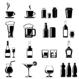 Drinks icons set. Monochromatic icons set of some drinks, beverages in various containers stock illustration