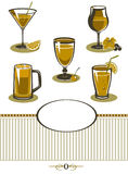 Drinks icons set orange menu Royalty Free Stock Photography