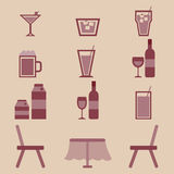 Drinks icons set in restaurant Stock Photo