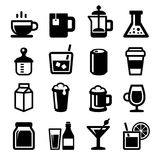 Drinks Icons Set on White Background. Vector Royalty Free Stock Photos