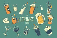 Drinks and cocktails icon set in hand drawing style. Vector illustration. Royalty Free Stock Photography