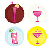 Drinks iconset. Mix of summer hot drinks. VECTOR. Hot summer mixed drinks. Vector icons – easy to resize Royalty Free Stock Image
