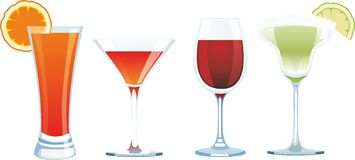 Drinks isolated on white in vector Stock Photography