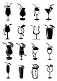 Drinks juice glasses icons set Stock Image