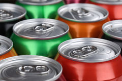 Drinks like cola and lemonade in cans Royalty Free Stock Images