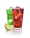 Drinks with lime and cranberry Royalty Free Stock Photography