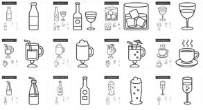 Drinks line icon set. Royalty Free Stock Image