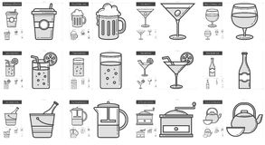 Drinks line icon set. Royalty Free Stock Photo