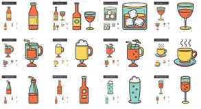 Drinks line icon set. Royalty Free Stock Images