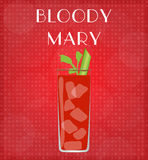 Drinks List Bloody Mary with Red Background Stock Photo