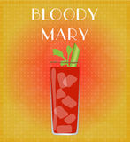 Drinks List Bloody Mary with Red & Golden Background Royalty Free Stock Photography