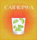Drinks List Caipirinha with Red & Golden Background Stock Photo