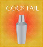 Drinks List Cocktail Shaker with Red & Golden Background Stock Photo