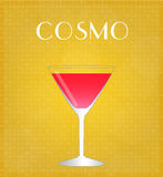 Drinks List Cosmopolitan with Golden Background Stock Photos
