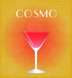Drinks List Cosmopolitan with Red & Golden Background Stock Photo