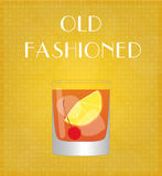 Drinks List Old Fashioned with Golden Background Royalty Free Stock Photography