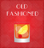 Drinks List Old Fashioned with Red Background Stock Photos