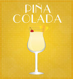 Drinks List Pina Colada with Golden Background Stock Photos