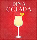 Drinks List Pina Colada with Red Background Stock Image
