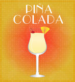 Drinks List Pina Colada with Red & Golden Background Royalty Free Stock Photo