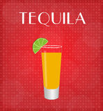 Drinks List Tequila with Red Background Royalty Free Stock Images