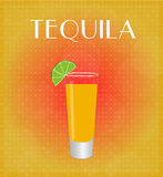 Drinks List Tequila with Red & Golden Background Stock Photos