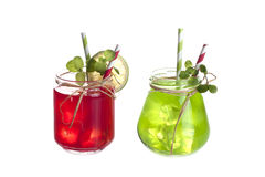 Drinks in Mason Jar. Cold drinks in Mason jar on a white background Stock Image