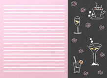 Drinks menu. With cups and glasses vector illustration