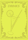 Drinks menu. Yellow template Stock Images