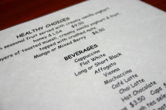 Drinks menu Stock Image
