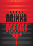 Drinks menu background. Red and black drinks menu background Royalty Free Stock Photography