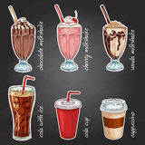 Drinks menu on a black board Royalty Free Stock Images