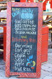 Drinks Menu Board. A Drinks Menu board highlighting a number of different beverages including tea, coffee and cappucino Stock Photo