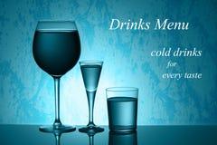 Drinks Menu Card Design. Blue Stock Image