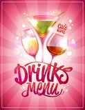Drinks menu cover design with cocktails. Against pink backdrop Royalty Free Stock Photo