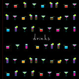 Drinks menu cover template. Drinks icons. Stock Images