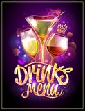 Drinks menu cover vector design. Cocktails and disco sparkles Stock Photos