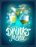 Drinks menu design with cocktails. Against disco sparkles Royalty Free Stock Photography
