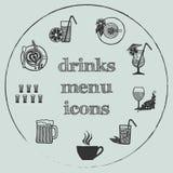Drinks menu elements - icons set 3. Drinks menu icon - hand-drawn icon set on grey circle background Stock Photos