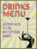 Drinks menu,enamel sign free copy space,. Drinks menu,retro enamel sign style, free copy space, grungy vector illustration.Fictional artwork Stock Photography