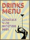 Drinks menu,enamel sign free copy space, Stock Photography