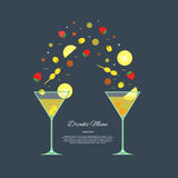 Drinks vector. Martini vector. Illustration on a theme the menu for restaurants. Royalty Free Stock Image