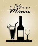 Drinks menu. Over beige background vector illustration Stock Photography