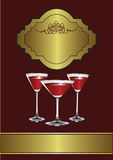 A Drinks Menu Template. With drinks glasses on a maroon and gold background Royalty Free Stock Photo