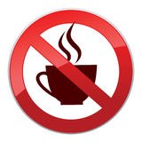 Drinks are not allowed. No coffee cup icon. Red prohibition sign Stock Photo